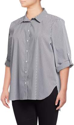 Calvin Klein Plus Striped Button-Down Shirt