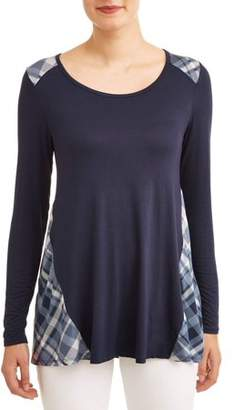 Tru Self Women's Long Sleeve Plaid Mix T-Shirt