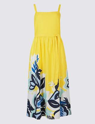 Marks and Spencer Linen Rich Floral Print Prom Midi Dress