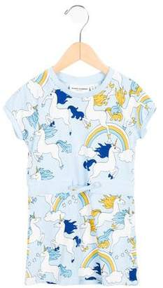 Mini Rodini Girls' Unicorn Printed Short Sleeve Dress