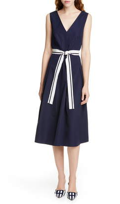 Judith & Charles Positano V-Neck Cotton Midi Dress