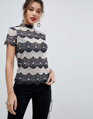 Morgan Allover Contrast Lace Top