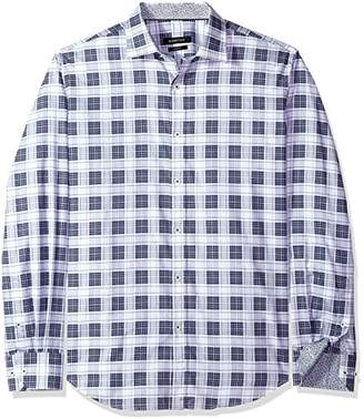 Bugatchi Men's Tartan Plaid Cotton Shaped Fit Long Sleeve Shirt