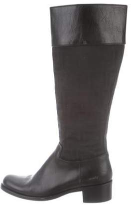 Fendi Round-Toe Knee-High Boots Black Round-Toe Knee-High Boots