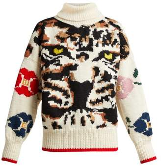 Sonia Rykiel Leopard Intarsia Knit Wool Sweater - Womens - Cream Multi