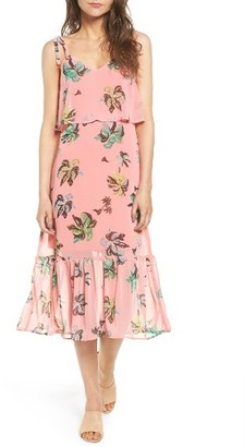 Women's Line & Dot Riza Ruffle Print Midi Dress $99 thestylecure.com