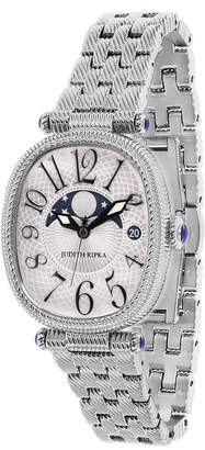 Judith Ripka Stainless Steel White Moon Phase Watch