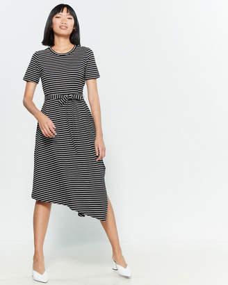 T Tahari Asymmetrical Hem Striped Midi Dress
