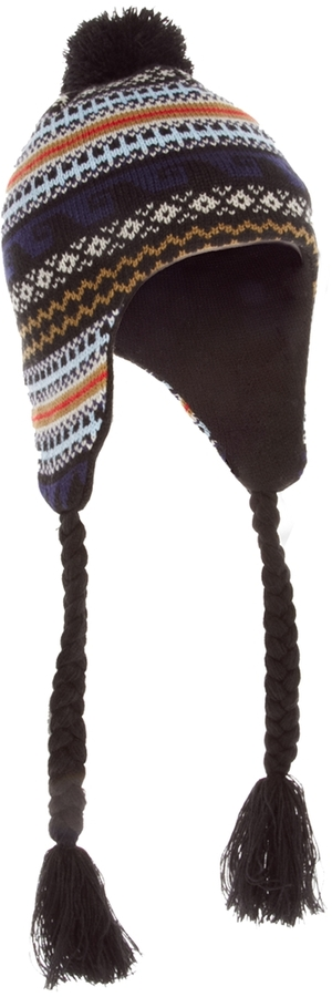 Asos Peruvian Hat in Fairisle Design - Blue