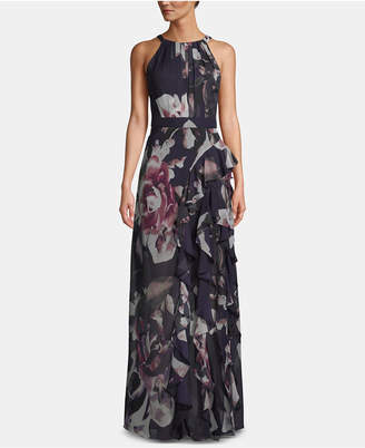 Betsy & Adam Pleated Floral-Print Gown