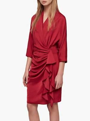 AllSaints Issey Gathered Dress, Raspberry Pink