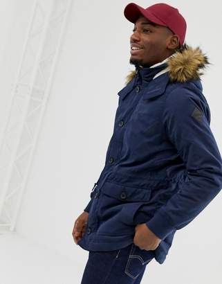 Hollister lined twill hooded parka with faux fur trim in navy