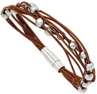"Steel By Design Stainless Steel 7-1/2"" Brown Leather Bead Bracelet"