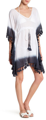 Exist Coverups Dip Dye Tassel Pom Pom Drawstring Cover Up $50 thestylecure.com