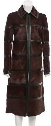 Barbara Bui Leather Trimmed Ponyhair Coat