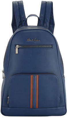 Robert Graham Perforated Faux-Leather Zip Backpack, Navy
