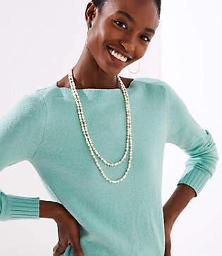 LOFT Extra Long Pearlized Beaded Necklace