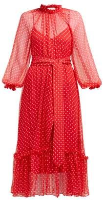 Zimmermann Swing Polka Dot Silk Chiffon Dress - Womens - Red