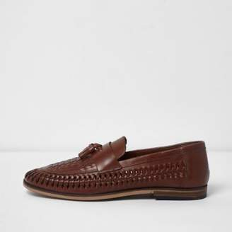 River Island Mens Tan brown leather woven tassel loafers