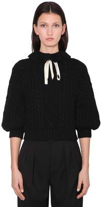 RED Valentino RUFFLED WOOL BLEND KNIT SWEATER