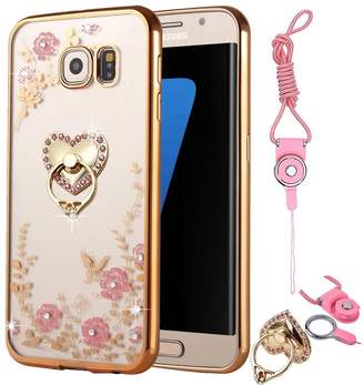 clear Galaxy Note 5 Case,Spritech Slim Soft Gel Bling Case Metal Plating Bumper Cover & Lanyard Neck Strap,Ring Stand