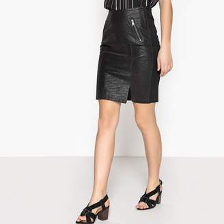 Only Dual Fabric Faux Leather Skirt
