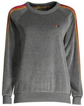 Aviator Nation Classic Velour Striped Crewneck Sweater