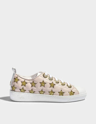N°21 N21 Glitter Star Sneakers in Nude and Gold Leather