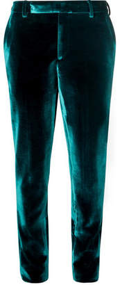 Saint Laurent Turquoise Slim-Fit Velvet Suit Trousers