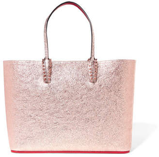 Christian Louboutin Cabata Spiked Metallic Textured-leather Tote - Pink