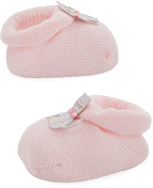 story. Loris Kitty Cat Knit Booties, Light Pink, Infant