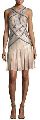 Herve Leger Tricolor Sleeveless Halter-Neck Bandage Cocktail Dress