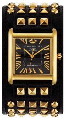 Juicy Couture 1901061 Black & Gold Leather Cuff Ladies Watch $135 thestylecure.com