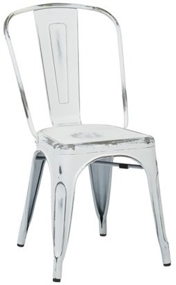Office Star OSP Designs by Products Bristow Armless Chair, Antique White Finish, 4-Pack