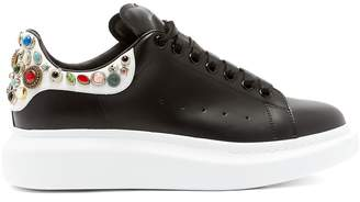 Alexander McQueen Jewel-studded raised-sole leather trainers