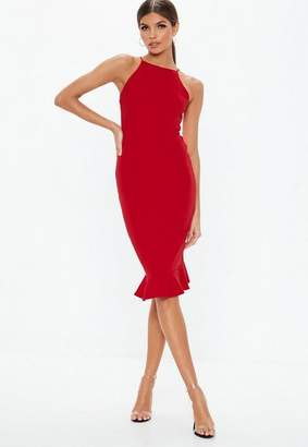 Missguided Red Scuba Square Neck Frill Hem Midi Dress