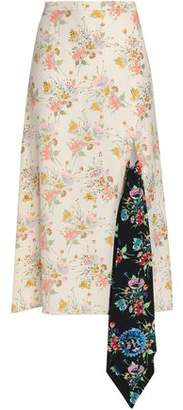 Christopher Kane Crystal-embellished Floral-print Appliqued Crepe Midi Skirt