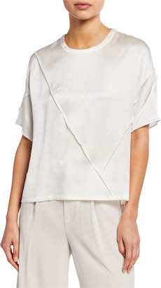 Vince Raw-Edge Silk Short-Sleeve Tee