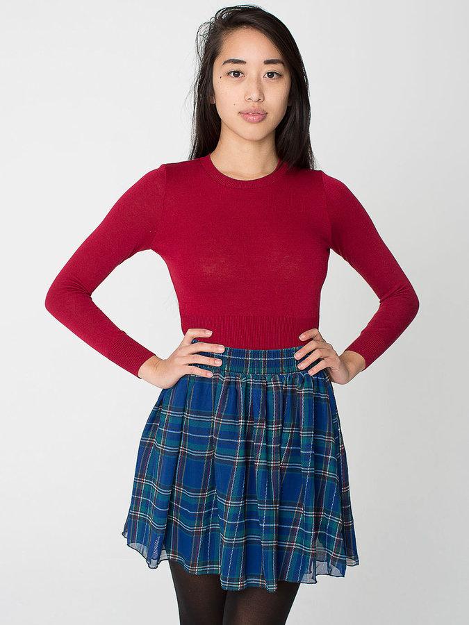 Plaid Chiffon Double-Layered Shirred Waist Skirt