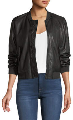 Neiman Marcus Majestic Paris for Zip-Front Leather Bomber Jacket