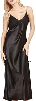 e75c51f65e iooho Women s Pajamas Satin Nightgown Long Sleeveless Sleepwear Slip Night  Dress
