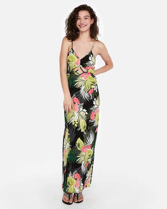 Express Floral Strappy Cut-Out Maxi Dress