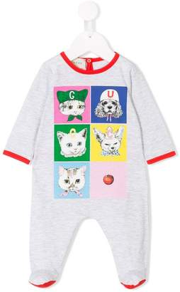 Gucci Kids cat and dog logo print pyjamas