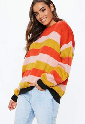 Missguided Red Stripe Fluffy Colourblock Stripe Crew Neck Sweater