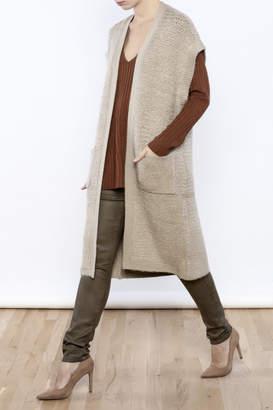 Cupcakes & Cashmere Sand Textured Weave Long Vest $115 thestylecure.com