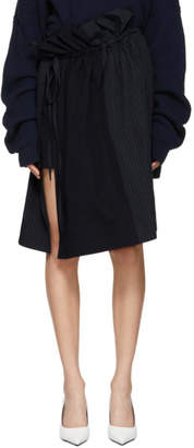 Stella McCartney Navy Gathered Shirting Skirt