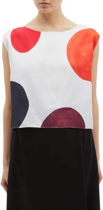Theory Polka dot print silk sleeveless boxy top