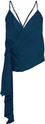 Mason by Michelle Mason Open-back Asymmetric Draped Gathered Crepe Camisole