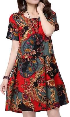 Hole Tide Women's Aztec Patterned Cotton & Linen Short Sleeves Mini Dress Size US 8