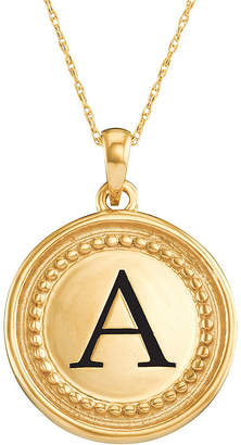 JCPenney FINE JEWELRY Personalized 10K Yellow Gold Initial Disc Pendant Necklace